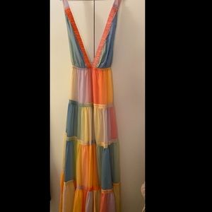 Unique Vintage Rainbow Maxi Dress NWT